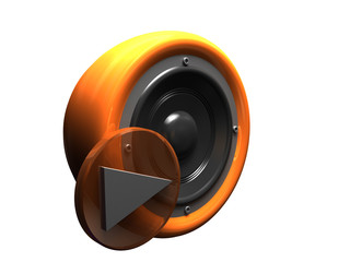 button Play. 3d retro stereo speaker orange over white