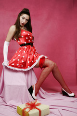 pin-up girl in red dress