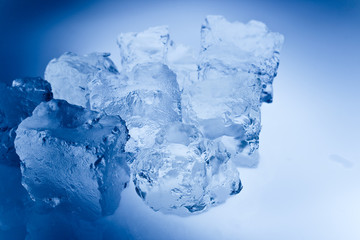 blue toned ice cubes