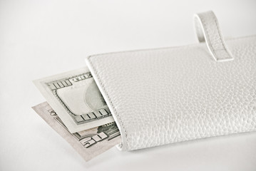 white purse with a money