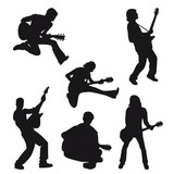 vector silhouette musician with guitar