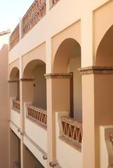 balcony. arches. pillars. balustrade