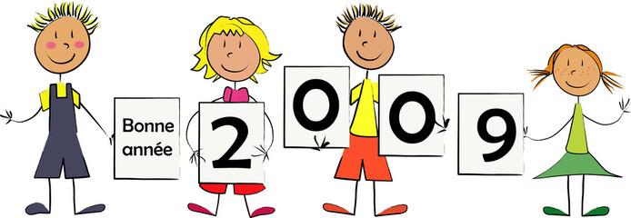 enfant panneau individuels bonne année 2009