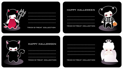 Halloween childish horizontal business cards
