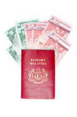 Passport malaysia with malaysian currency