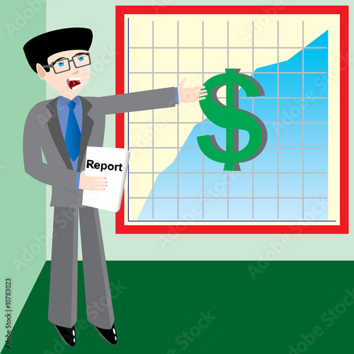 Young businessman speak about profit diagram (plot).