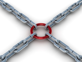 Chain fastened by a red ring. 3D image.