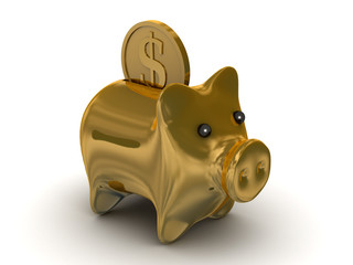 Gold pig a coin box. Isolated 3D image.