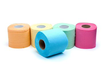 Different colored toilet paper rolls