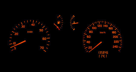 car dashboard turn and speed meter indicator