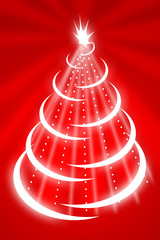 Hand drawing christmas tree on red background