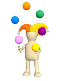 3d clown - puppet, juggling with balls poster