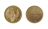ancient gold coin isolated on white (5 roubles of 1853)