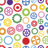 Seamless, Repeating Colorful Cog Background poster