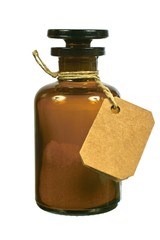 Brown glass bottle with tag
