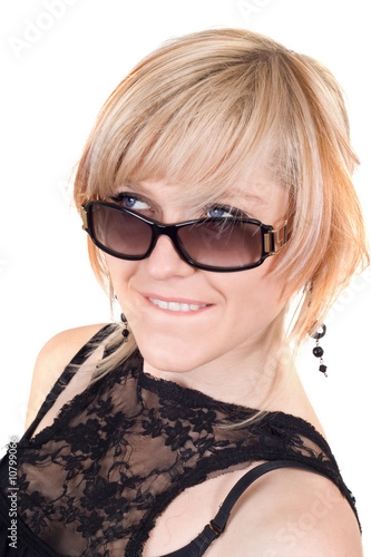 poster of The blonde in sunglasses with a crafty sight. Isolated