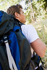 Man hiking with backpack