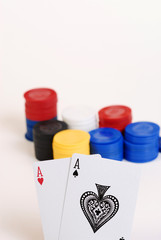 poker cards and chips isolated on white
