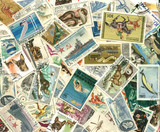 collection of vintage stamps poster