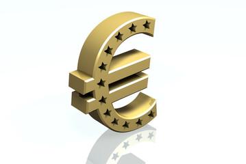 € - Symbol der europäischen Union in Messing