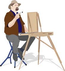 vector illustration of artist painting outdoors
