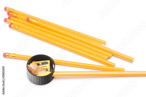 yellow pencils with eraser isolated on white