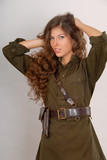 beautiful long-haired girl in military style poster