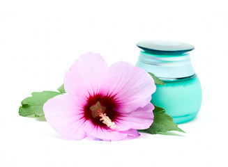 Jar for cosmetic cream and flower