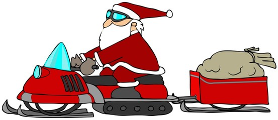 Santa On A Snowmobile