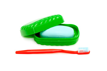 tooth brush and  soap