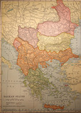 map,antique,vintage,balkan,states,old poster