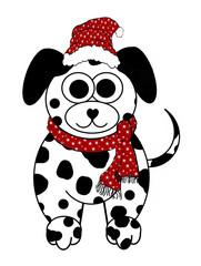 Winter Dalmatian Dog Cartoon - Isolated on white
