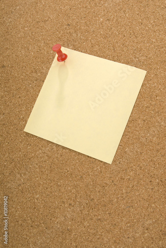 Push pin, note and cork board