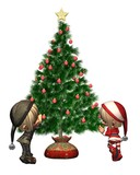 Christmas Elves - decorating the tree poster