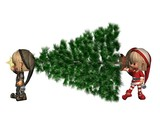Christmas Elves - bringing in the tree poster