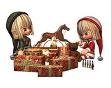 Christmas Elves - wrapping the presents poster