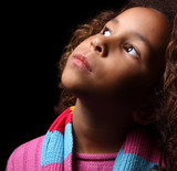 Young child glancing away poster