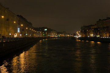 Cold evening over the river Fontanka