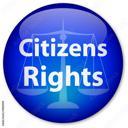 """Citizens Rights"" button with scales of justice"