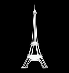 Eiffel tower stylized and isolated on black background