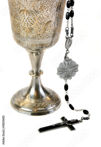 Ornate Communion Chalice and Rosary