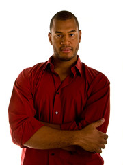Casual Black Man in Red Shirt Arms Crossed