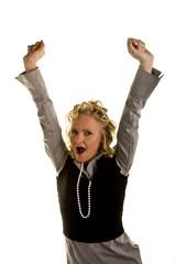 Curly Blonde Woman Yawning