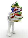 Fototapety student with a bale of books. Isolated 3D image.