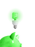 piggy bank with energy-efficient light-bulb above (smart energy) poster