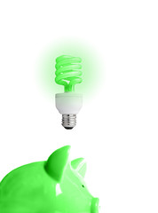 piggy bank with energy-efficient light-bulb above (smart energy)