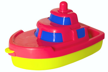 Red-blue-yellow plastic child ship