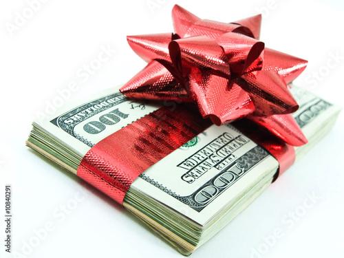 money for Christmas on white