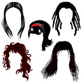 set of  hair style samples for woman poster