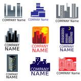 set of big city logotypes poster